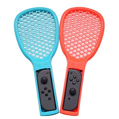Tennis Racket for Nintendo Switch Joy Con Controller Enhance Grips with Hand Straps for Tennis Aces and Tennis World Tour Games Jazane Tennis Racquet for Games (Pack 2, Blue and Red)