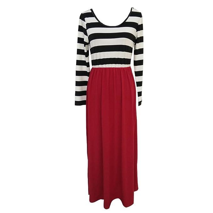 Vestido rojo con rayas negras
