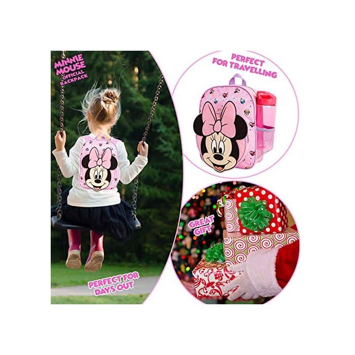 51mmlkN5wtL MOCHILA ESCOLAR DE MINNIE --- ¡El mejor regalo para todos los fans de las películas de Disney! Esta bonita mochila de color rosa en diseno 3D es perfecta tanto para ir al colegio como para ir de vacaciones. Presenta a tu personaje favorito de Disney Minnie Mouse y su famoso lazo. Tiene espacio suficiente para libros, ropa o juguetes y viene con correas acolchadas para mayor comodidad. MERCHANDISING OFICIAL DE DISNEY --- Nuestras mochilas escolares de Disney tienen licencia oficial, por lo que no se preocupe, cuando compra a través de nosotros está adquiriendo un producto de calidad. GRAN CAPACIDAD --- Esta mochila clásica de Disney tiene espacio suficiente para guardar material escolar, juguetes, el almuerzo o un cambio de ropa. Cuenta con un compartimento principal con cremallera, un bolsillo lateral de malla para bebidas, y un pequeño bolso en la parte delantera que pueden usar a modo de estuche escolar.