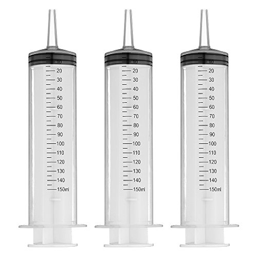 150ml Plastic Syringe 3 Pack for Scientific Labs and liquid Dispensing Metric Multiple Uses (Tips Lights 150 Clear)