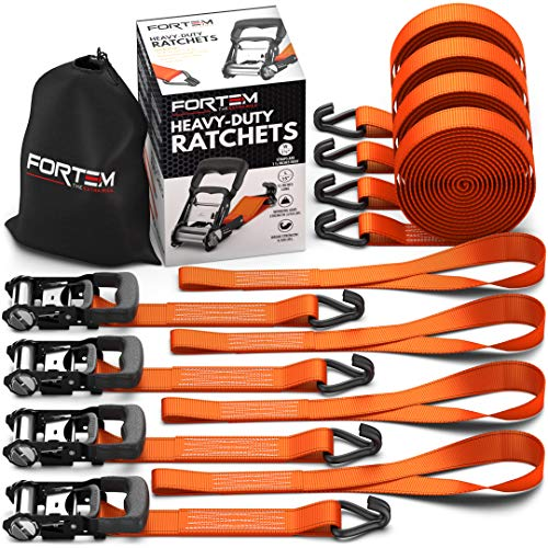 (FORTEM Heavy Duty Ratchet Tie Down Straps 1.5 Inch | 8pc Set | 2250lb Load Strength & 4500lb Break Strength |Rubber Coated Handles| Metal Buckles & J-Hooks | 4 x 15ft Securing Straps & 4X Soft Loops)