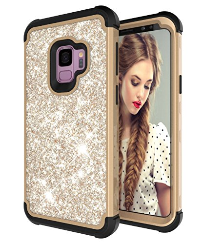 - Galaxy S9 Case, UZER Three Layer Shockproof Glitter Sparkle Bling Diamond Hard PC Soft Silicone Combo Hybrid Impact Defender Shining Sparkle Style Full-Body Protective Cover for Samsung Galaxy S9