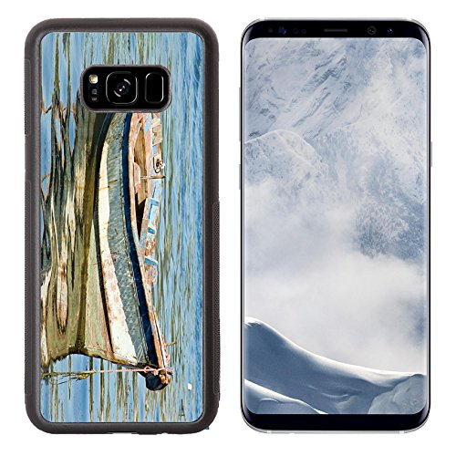 Fisherman Custom Boat Cover (Luxlady Samsung Galaxy S8 Plus S8+ Aluminum Backplate Bumper Snap Case IMAGE ID: 17919821 boats in Arcade Galicia Spain)