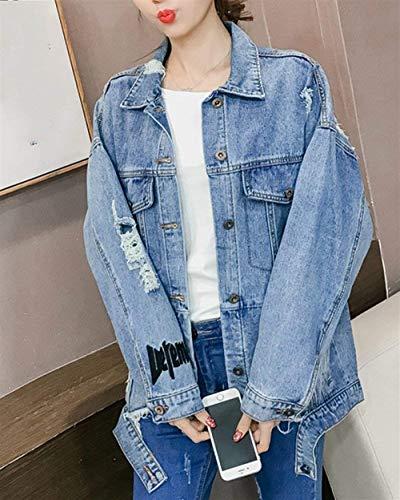 Qualità Single Lunga Donna Breasted Casuale Autunno Manica Giubbino Giacche Bavero Elegante Blau Tasche Cappotto Di Baggy Pingrog Strappato Jeans Giaccone Anteriori Alta Ax7d8qZ