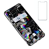 Oddss Case Compatible for iPhone Xs/X 10(5.8 inch) with Card Holder Slot Ultra-Slim Thin Soft TPU Clear Wallet Cover Compatible for iPhone XS/X/10 with Screen Protector (Watercolor Black Marble)