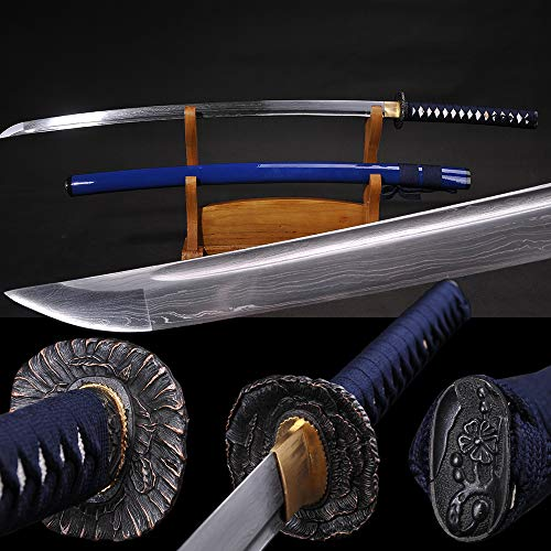 Yongli Sword Handmade Full Tang Japanese Katana Damascus Folded Steel Samurai Sword Dark Blue Saya Brass Tsuba