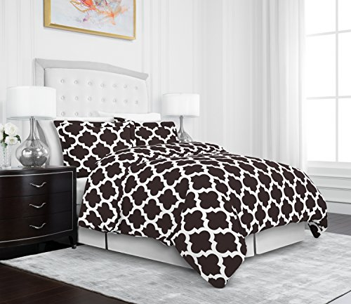 Egyptian Luxury Quatrefoil Duvet Cover Set - 3-Piece Ultra Soft Double Brushed Microfiber Printed Cover with Shams -King /Cal King - Brown/White (3 Piece Duvet Set)