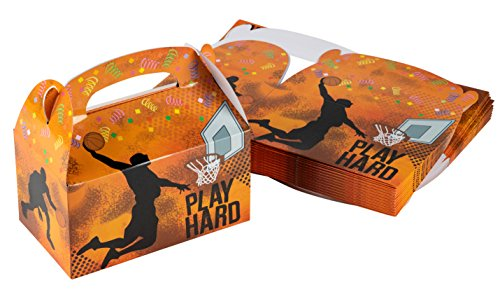 Treat Boxes - 24-Pack Paper Party Favor Boxes, Basketball Design Goodie Boxes for Birthdays and Events, 2 Dozen Party Gable Boxes, 6 x 3.3 x 3.6 -