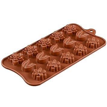 Neyouyou Patrón De Flor Chocolate Silicona Molde Marrón Pastel Molde Para Hornear: Amazon.es: Hogar