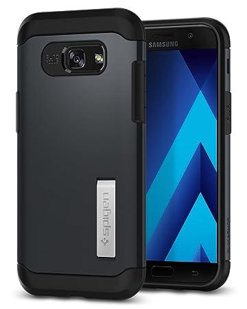 Spigen 573CS21359 Slim Armor Samsung Galaxy A5 2017 Hülle, 2-teilige mit Integrierten Kickstand, Metal Slate