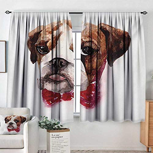 All of better English Bulldog Window Curtain Drape Watercolor Dog Portrait with a Bow Tie Design Brush Stroke Effect Door Curtain Blackout 63