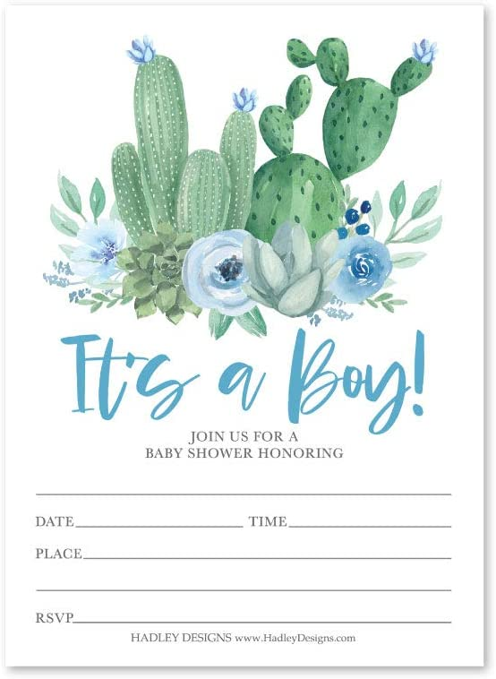 25 Blue Cactus Baby Shower Invitations, Sprinkle Invite for Boy, Coed Fiesta Gender Reveal Theme, Cute Desert Garden DIY Fill or Write in Blank Printable Card, Boho Green Succulent Party Supplies