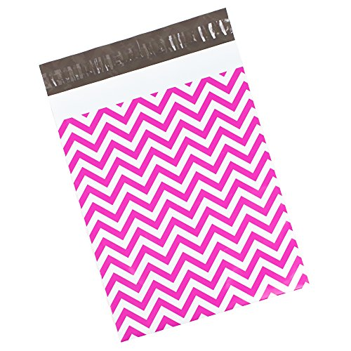 100 Printed Poly Mailers 10x13 Pink Chevron Colored Shipping Envelopes Plastic Mailing Bags by Inspired Mailers