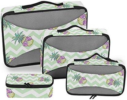 かわいい紫パイナップル荷物パッキングキューブオーガナイザートイレタリーランドリーストレージバッグポーチパックキューブ4さまざまなサイズセットトラベルキッズレディース