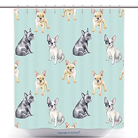 Antibacterial Shower Curtains Watercolor Seamless Pattern Of French Bulldog Pet Puppy Background Animal Wallpaper 377260300 Polyester Bathroom Shower Curtain Set With - Madison Florals Wallpaper