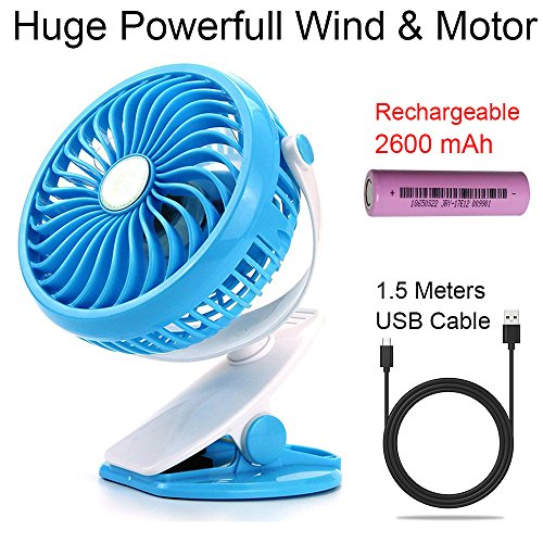 on Fan 2018 New 2600mah Rechargeable Battery Fans Pram Stroller For Pushchair, Baby Crib, Less than 5mm (0.2 inch) Mesh, Blocking Child Fingers Safety Stepless Variable Speed ()