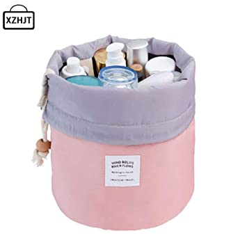 90d1a56a6a Amazon.com   Fashion Barrel Shaped Travel Cosmetic Bag Make Up Bag  Drawstring Elegant Drum Wash Kit Bags Makeup Organizer Storage Beauty Bag  (Pink)   Beauty