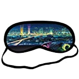 Bridges Science Fiction Motorbikes Neon Cities Sleeping Mask Travel Soft Cotton Sleeping Aids Eye Mask Cover Shade Blindfold Rest Shield