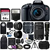 Canon EOS Rebel T7i DSLR Camera + Canon EF-S 18-55mm is STM Lens + Canon EF 75-300mm III Lens + Wide Angle & Telephoto Lens +