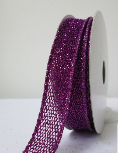 7-8-inch-purple-wired-metallic-netting-with-sequins-10-yard-roll-fe