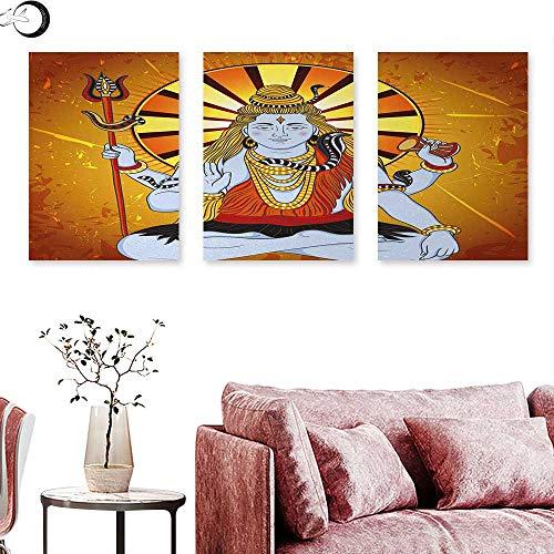 J Chief Sky Spiritual Canvas Wall Art Religious Figure on Grunge Backdrop Idol Meditation Boho Holy Print Triptych Art Set Amber Orange Light Blue W 12