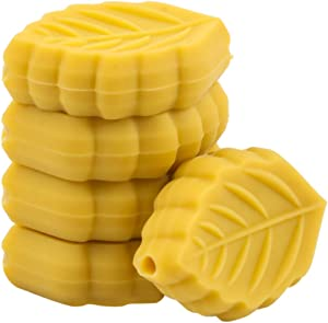 Promise Babe 10pc Baby Silicone Beads Mini Leaf Shaped for Making Pacifier Chain BPA Free Food Grade DIY Nursing Beads (Mustard)