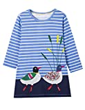 Gprince Girl Long Sleeve Striped Cartoon Embroidery Pattern Princess Dress Spring Autumn Christmas Gift Daily Use
