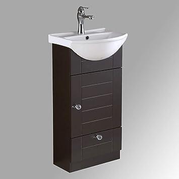 Small Bathroom Cabinet Vanity Sink Dark Oak Faucet And Drain Space