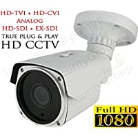 USG Panasonic DSP 2MP 1080P Bullet Security Camera : 5-in-1 CCTV Format HD-SDI, EX-SDI, HD-TVI, HD-CVI + Analog : 2.8-12mm Vari-Focal Lens : 200ft Range 42x Square IR LEDs : Business Grade