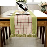 American Rural Fringed Table Runner,College Style Sub-tablecloth,Coffee Table Cloth Decoration Bed Card TV Cabinet Cover Cloth-E 38x180cm(15x71inch)