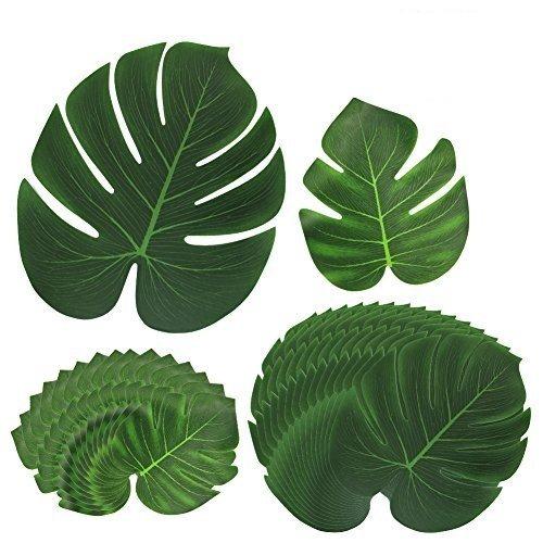htianc 30Pack artificiale foglie tropicali e la palma foglie giungla festa hawaiana spiaggia a tema decorazioni Informazioni sul prodotto HTINAC