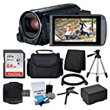 Canon VIXIA HF R800 Camcorder (Black) + SanDisk 64GB Memory Card + Digital Camera/Video Case + Extra Battery BP-727 + Quality Tripod +...