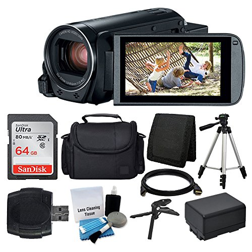 Charger Black Case Lcd (Canon VIXIA HF R800 Camcorder (Black) + SanDisk 64GB Memory Card + Digital Camera/Video Case + Extra Battery BP-727 + Quality Tripod + Card Reader + Tabletop Tripod/Handgrip + Deluxe Accessory Bundle)