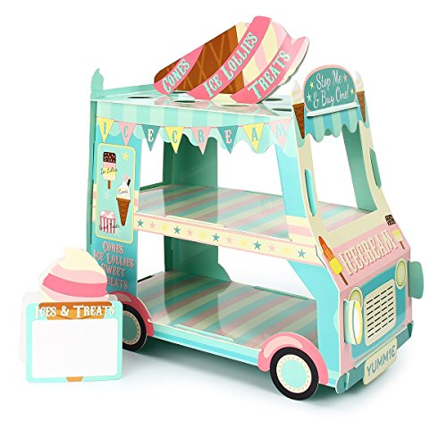 Mochiglory 3 Tier Cupcake Stand Ice Cream Street Van Cake Stand Holder for Theme Party Decoration