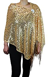 Women's Sequins Shawl Scarf with Rhinestone Brooch