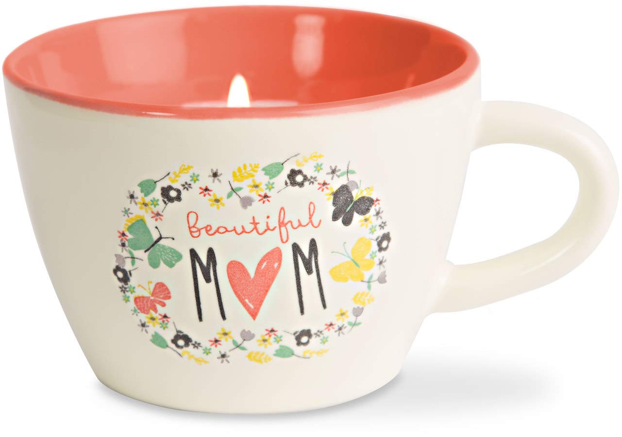 Pavilion Gift Company 74093 Bloom by Amylee Weeks Mom Ceramic Teacup Candle