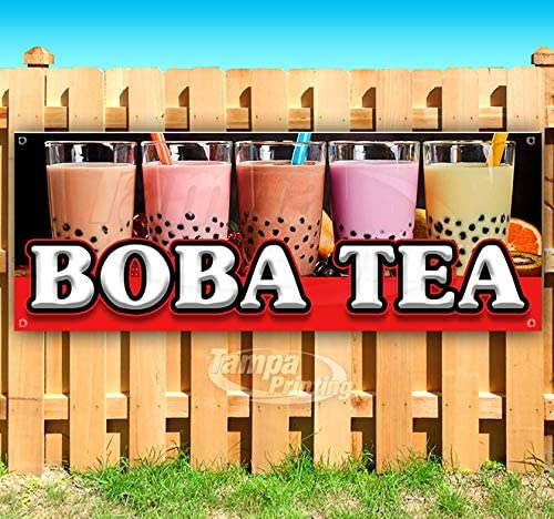 Store Many Sizes Available Flag, New Boba Tea 13 oz Heavy Duty Vinyl Banner Sign with Metal Grommets Advertising