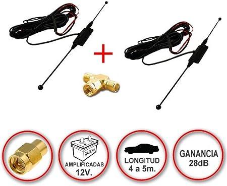 Kit de 2 Antenas de TDT (SMA) + Conector en T. Ganacia de 28dB
