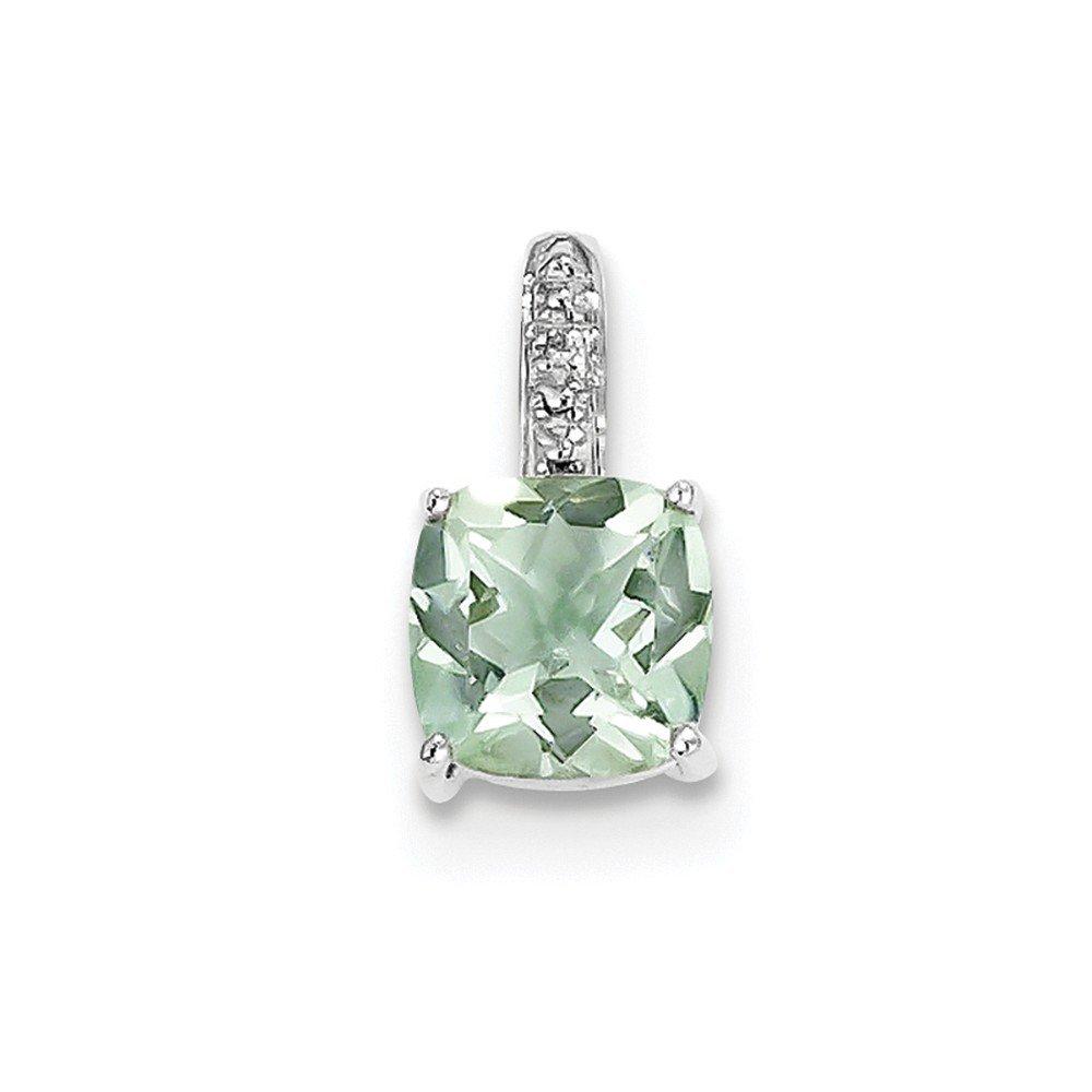Sterling Silver Rhodium Green Quartz /& Diamond Pendant