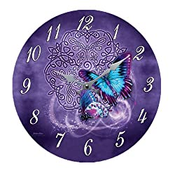 Celtic Zodiac Butterfly Metamorphosis Wall Clock By Brigid Ashwood Round Plate 13.5D