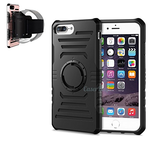 [CaserBay] 2 In 1 iPhone 7 Plus 5.5' Sports Neoprene Armband Detachable Case Rugged Rubber Hard Shell Dual Layer Heavy Duty Phone Case With Removable Wristband (Black For iPhone 7 Plus 5.5')
