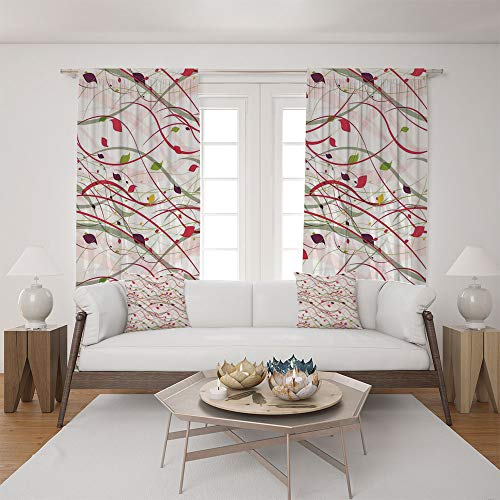2 Panel Set Satin Window Drapes Living Room Curtains and 2 Pillowcases,Curl Lines Like Tree Branches with Leaves Spring,The perfect combination of curtains and pillows makes your living room (Pittsburgh Steelers Window Drape)