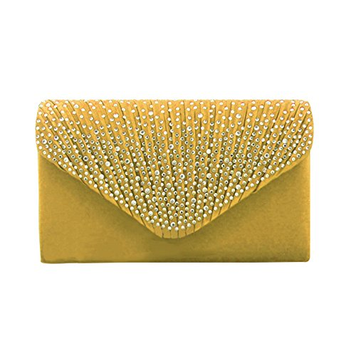 Flada Gold Navy for Blue Women Evening Satin Purse Bags Frosted Envelope Clutch Rhinestone 7vwqx7arH