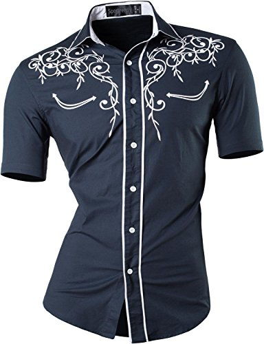 Jzs055 jzs075 Tops Estate Manica Camicie Slim Sportrendy Fashion Moda Uomo Casual Fit Men Navy Corta Shirts iZXPOku