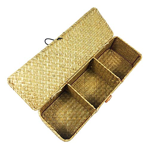 LA Hand-Woven Seagrass Storage Rectangular Basket and Home Organizer Bins,Natural Water Hyacinth Basket (Brown with -