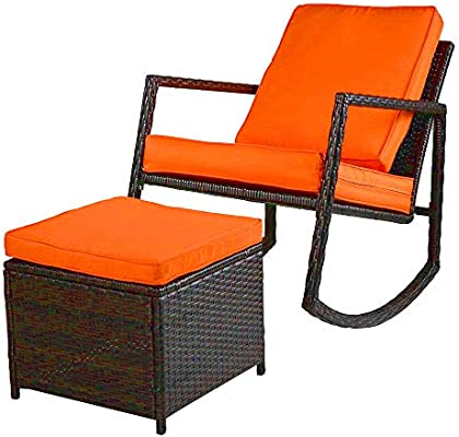 EFD Rattan Rocking Chair U0026 Footstool Set Outdoor Relaxing Patio Lawn Garden  Poolside Furniture Ottoman Coffee Table Padded Cushions Orange Rattan  Design ...