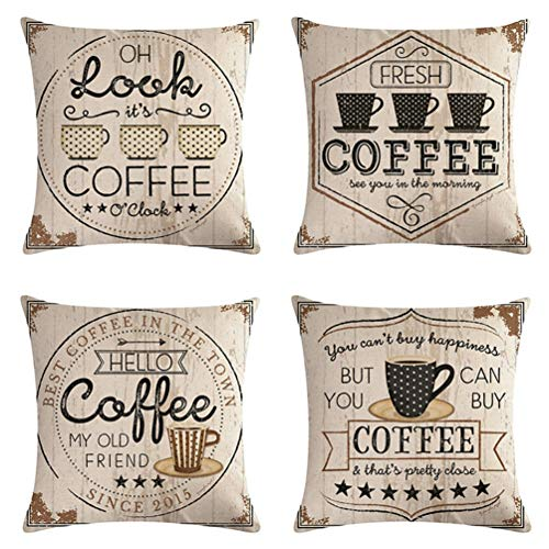 7COLORROOM 4pack Vintage Coffee Cup Pillow Covers with Arrow Pattern Cushion Cover Cotton Linen Square Decorative Throw…