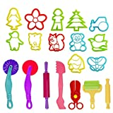 Kare & Kind Set of 19pcs Smart Dough Tools Kit with Models and Molds, (Retail Packaging) (mix models) (Animal and flower)