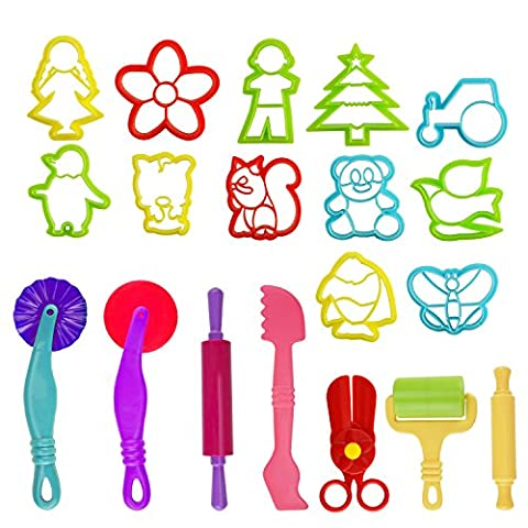 Kare & Kind Set of 19pcs Smart Dough Tools Kit with Models and Molds, (Retail Packaging) (mix models) (Animal and (Playdoh People)
