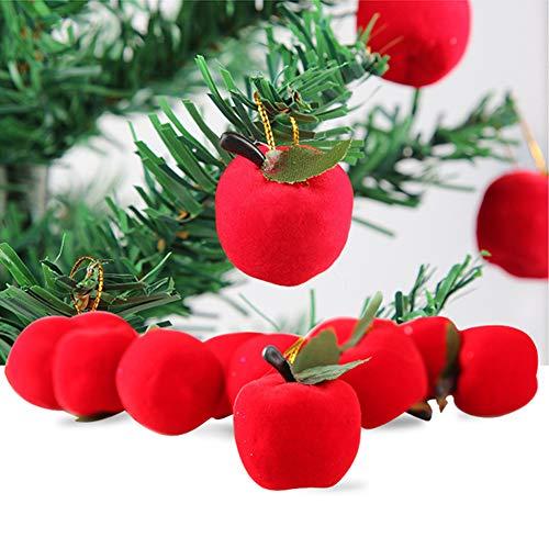 CHoppyWAVE 12Pcs Christmas Apple Hanging Ornaments for Xmas Tree Window Showcase Party Decor - Red (Christmas Ornaments Ball Uk Personalized)